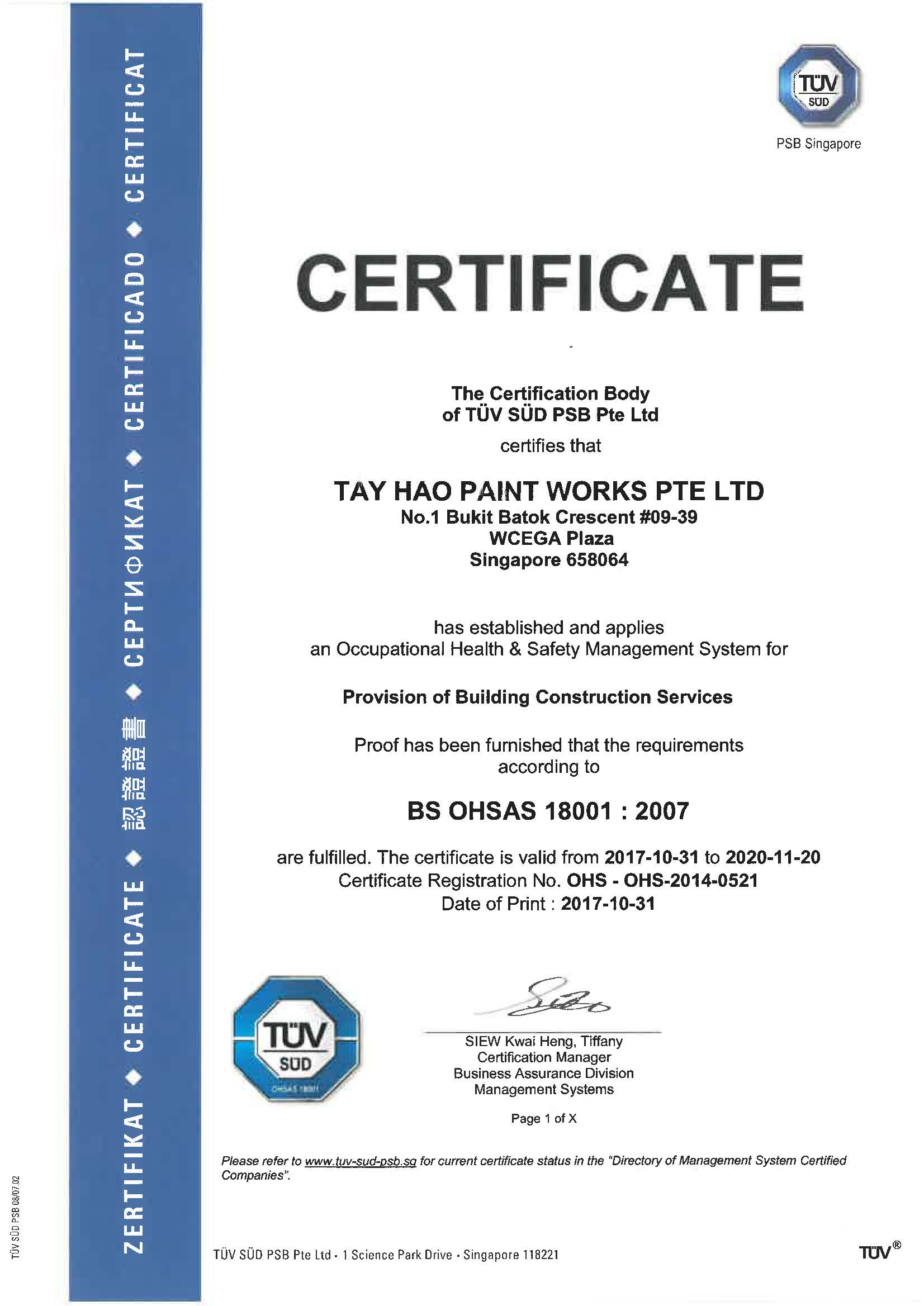 Awards and Credentials - Tay Hao Paint Works